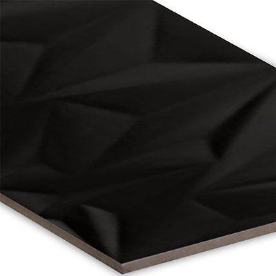 Wandfliesen Struktur Fracture Schwarz 30x80cm