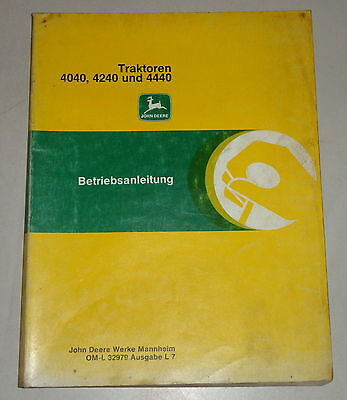 Sweet-Tempered Operating Instructions/handbook John Deere Tractor 4040/4240 And 4440 Agriculture/farming