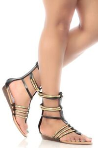 c50eb79b672aa New Womens Thong Open Toe T-Strap Gladiator Sandal Gold Cage Low ...