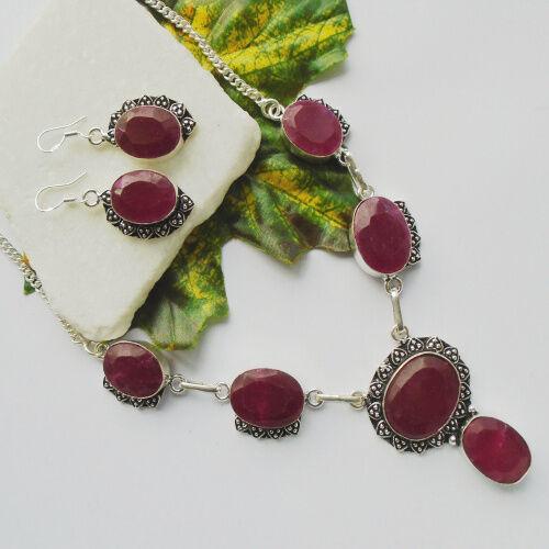 Indischer Rubin pink Set Kette Halskette Collier Ohrringe Silber plattiert neu