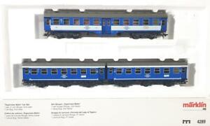 MARKLIN-4289-HO-2-OR-3-RAIL-GERMAN-TEGERNSEE-BAHN-LIVERY-3-COACH-COMMUTER-SET