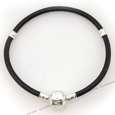 6 Black Leather Bracelets Fit Charms Beads 18cm 150698
