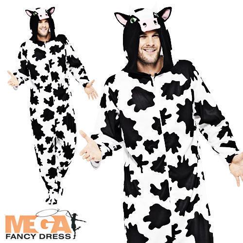 Farm Cow Adult Jumpsuit Fancy Dress Animals Book Week Mens Ladies Costume Outfit