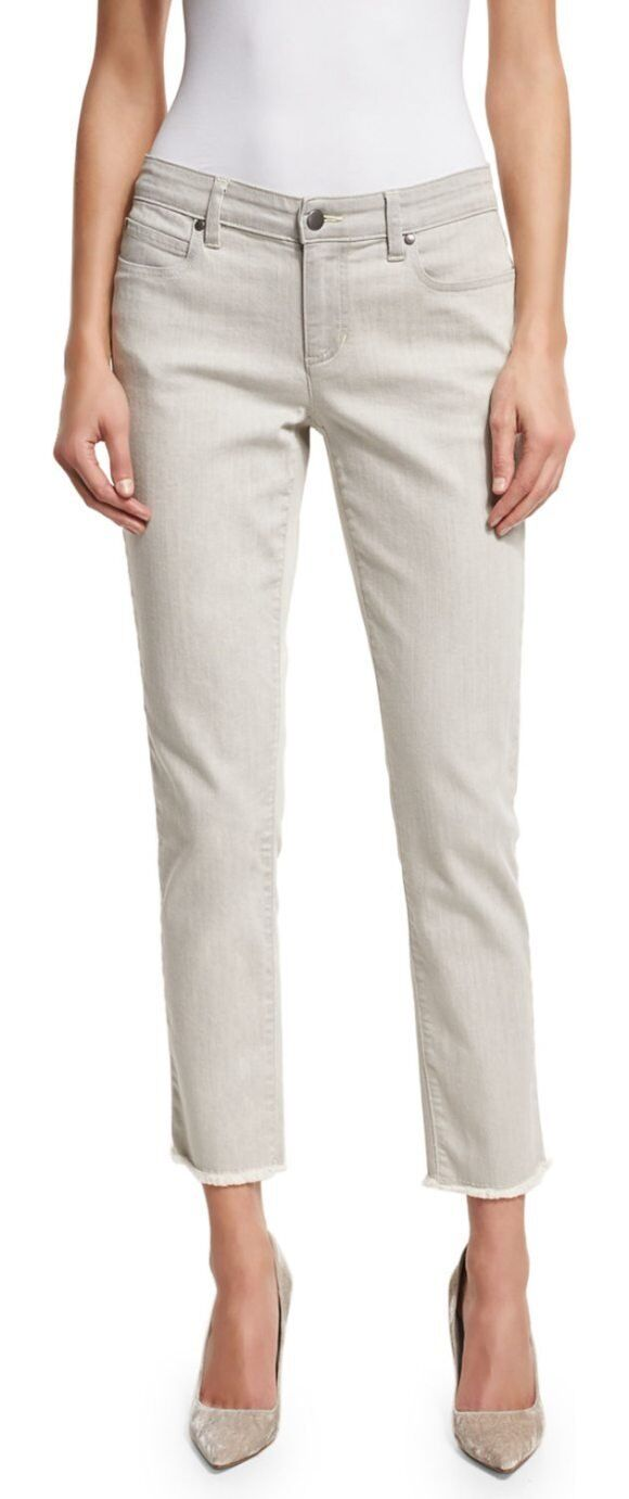 178 Eileen Fisher Raw Edge Cropped Slim Ankle Jeans in Natural 8 NEW E521
