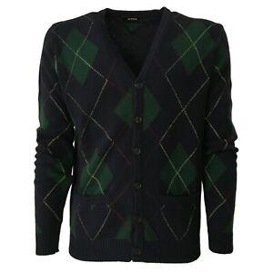Mens-Cardigan-Blue-Design-Argyle-Green-Alpha-Studio-Mod-AU-1260E-100-Wool