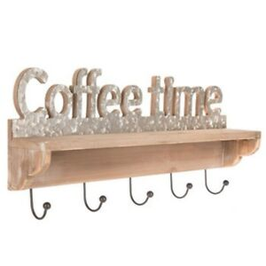 Details About Coffee Cup Time Wood Wall Shelf With Hooks Mug Hook Holder Rustic Decor