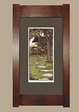 Framed Arts and Crafts Signed Limited Linoleum Block Print by Yoshiko Yamamoto