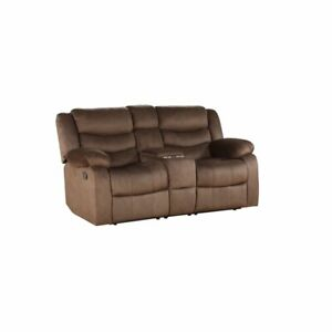 Stupendous Details About Acme Angelina Reclining Loveseat With Console In Dark Brown Fabric Alphanode Cool Chair Designs And Ideas Alphanodeonline