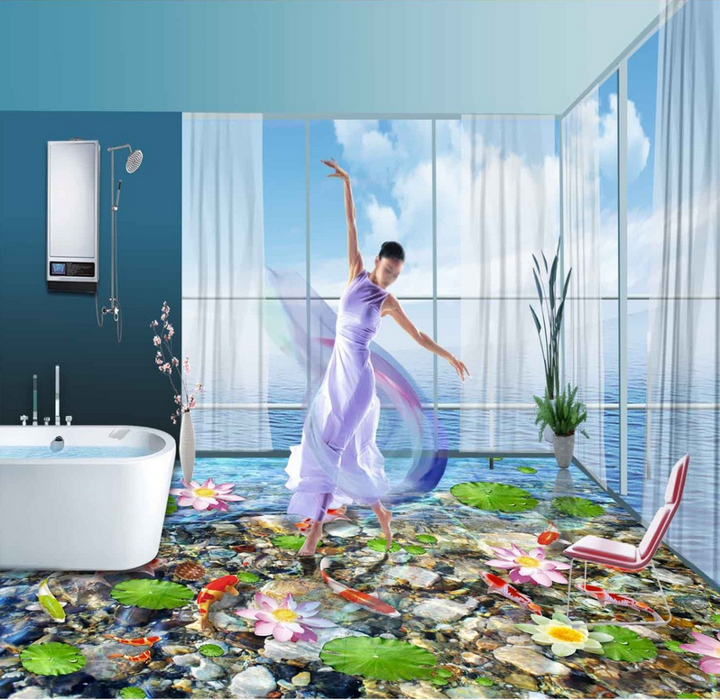 3D Lotus Fishes Fishes Fishes Pond 781 Floor WallPaper Murals Wall Print Decal AJ WALLPAPER US a8c37c