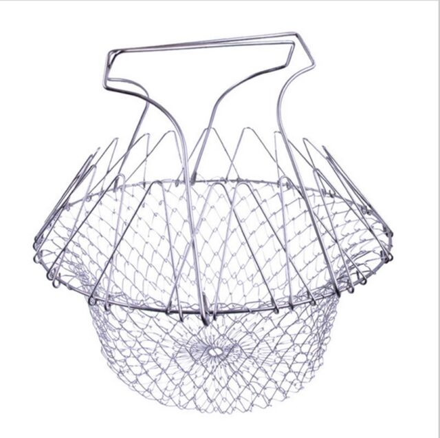 Pop Chef Foldable Steam Rinse Strain Fry Basket Strainer Kitchen Cooking Tools B