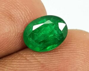 1.36 Ct Natural Oval Cut Top Quality Green Luster Zambia Emerald Untested Gems