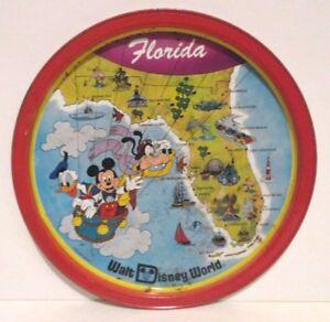 DISNEY WORLD FLORIDA MAP TIN TRAY MAGIC KINGDOM EPCOT MICKEY MOUSE on