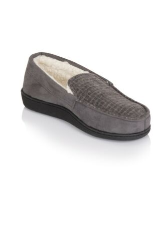 Para hombre Mini comprobado acogedor Fleece Suave Sherpa Forrado Completo Zapato Zapatillas Uk Tamaños 7-12