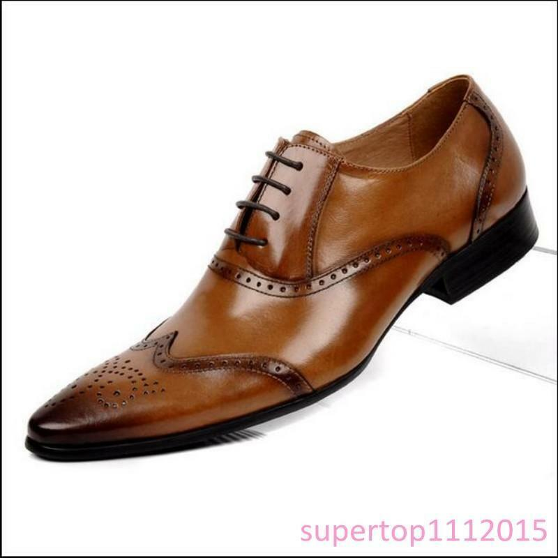 Brogue Youth Prom Roman Lace Up Leather Formal Dress Oxfords Mens Wingtip shoes