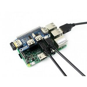 Waveshare-4-Port-USB-HUB-HAT-for-Raspberry-Pi-3B-2B-B-Zero-Zero-W-USB-to-UART