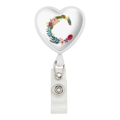 Letter C Floral Monogram Initial Heart Lanyard Reel Badge ID Card Holder