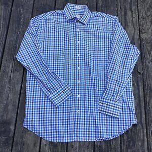 Peter-Millar-Mens-sz-XL-Blue-brown-Check-L-S-Button-Up-Dress-Shirt