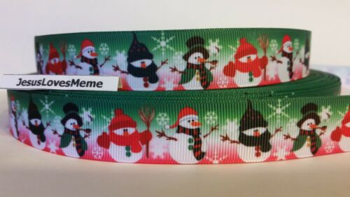 "Grosgrain Ribbon 7//8/"" Christmas Snowmen Dressed in Red /& Green Snowflakes"