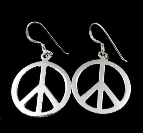 Handcrafted Solid 925 Sterling Silver Hippie PEACE SIGN Drop//Dangle Earrings