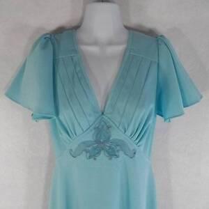 Vtg-1970s-Mikey-Jrs-Women-039-s-Disco-Diva-Sexy-Blue-Open-Back-Dress-Small-Medium