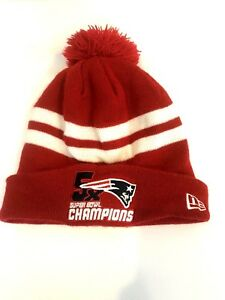 7fe1f8b92 Details about New Era New England Patriots NFL Knit Pom Beanie Hat Red  White 5X Champions