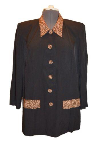 Women's Petites Vintage 80s 90s Black Cheetah Prin