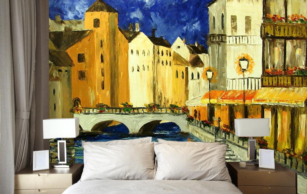 3D Malerei Häuser Flüsse 67 Tapete Tapeten Mauer Foto Familie Tapete Wandgemälde