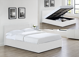 Enjoyable Details About Luna White 3Ft Single Faux Leather Bed Ottoman Gas Lift Up Storage Bed Caraccident5 Cool Chair Designs And Ideas Caraccident5Info