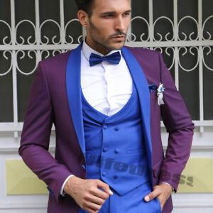 Bridegroom Wear Suits Wedding Tuxedos Men S 3 Pieces Purple Coat
