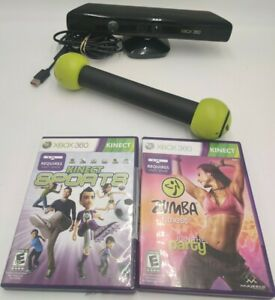 Microsoft Xbox 360 Kinect Sensor Bar 1414 with Games Lot of 4 Bundle