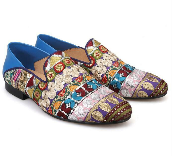 Vogue Mens Genuine Leather Sequins Embroidery Loafers Slip On Party Casual scarpe