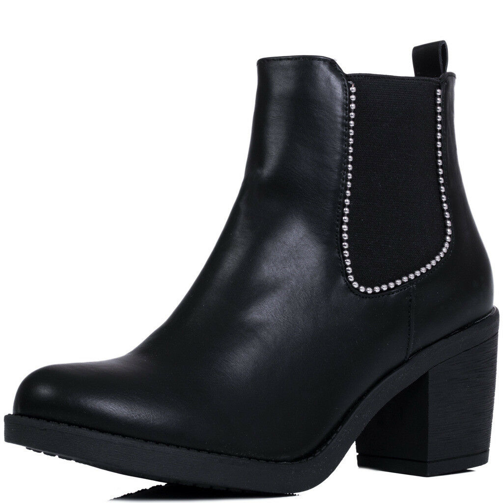Womens Ball Chain Block Heel Chelsea Ankle Boots Sz 3-8
