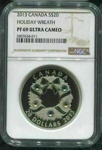 2013-CANADA-20-HOLIDAY-WREATH-NGC-PF69-UC-w-ALL-PACKAGING-999-SILVER