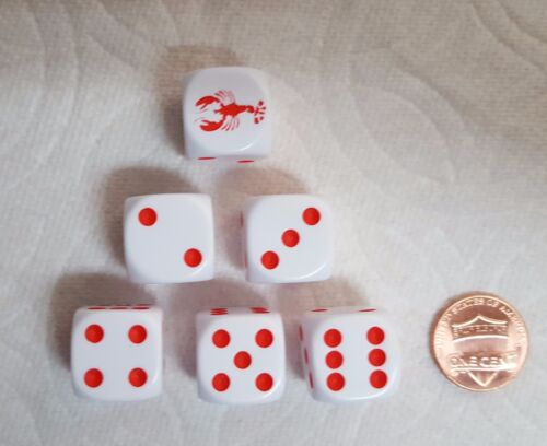 DICE OP WHITE w//RED LOBSTER #1 /& RED PIPS LOBSTER TAILS ON DICE! 16mm  6//SET