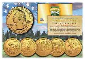 2016-24K-Gold-National-Parks-America-the-Beautiful-Coins-Set-of-all-5-Quarters