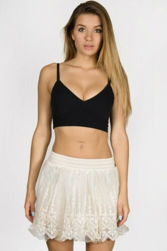 Cute Summer Embroidery Skirt Floral Print Mini Lace Skirt Beach Wear
