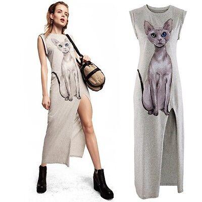 Cute Thigh High Slit Sphynx Cat Print Sleeveless Dress Grey Gray Casual Mid-Calf