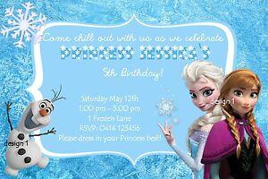 Details About 10 X Disney Princess Frozen Birthday Invitations Invites Pack Freebie
