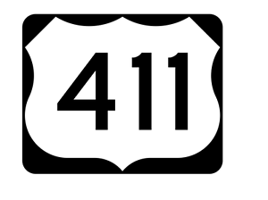 US Route 411 Sticker R2197 Highway Sign Road Sign