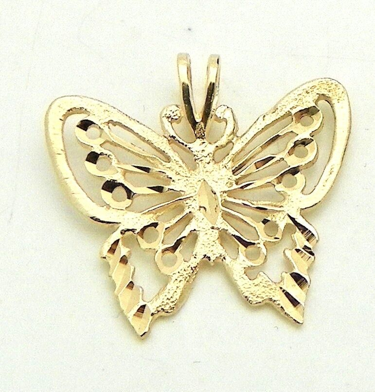 FILIGREE BUTTERFLY PENDANT REAL SOLID 14 K gold 1.1 g