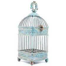 RUSTIC BLUE SQUARE METAL BIRD CAGE WEDDING DECOR CANDLES FLORAL ARRANGEMENT