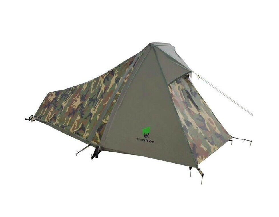 Camping Hiking Tent Trekking Survival Army Military 1 Person Camouflage Woodland