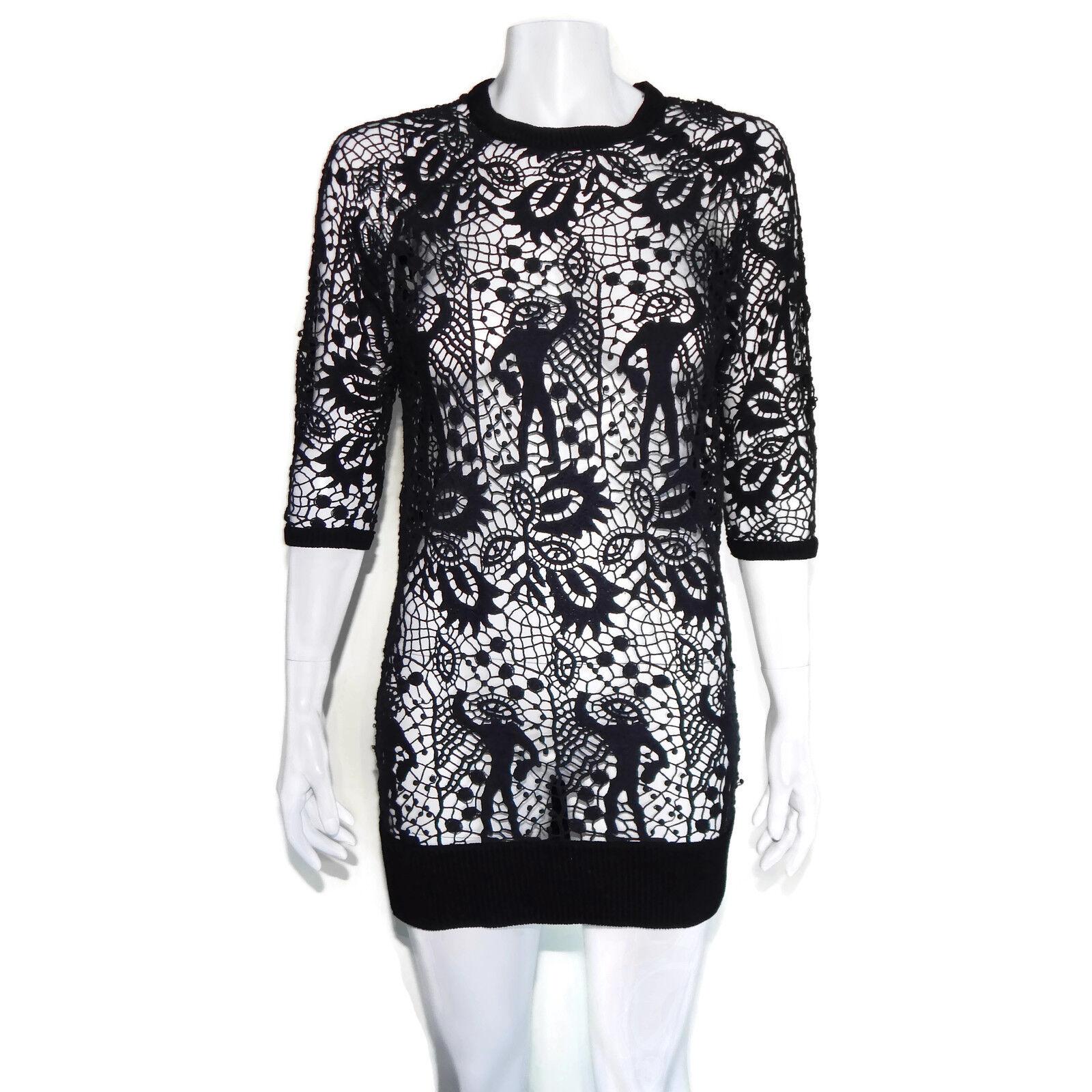 ISABEL MARANT schwarz Calico Lace Whimsical Detail Tunic Top Größe FR 40 US 8