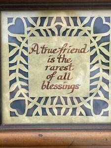 Vintage Framed Hand Cut Paper folk art Friendship, Hearts, Gift, Country Decor