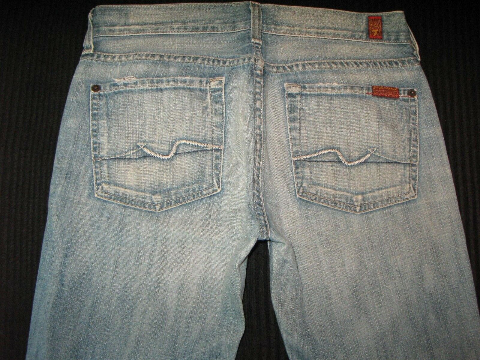 7 for all Mankind Womens Flare Jeans Sz 27 100% Cottonn Distressed USA Made