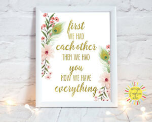 """GIRLS NURSERY WALL ART PRINT BOHO PINK FLORAL """"FIRST WE HAD EACH OTHER"""" A4, A3"""