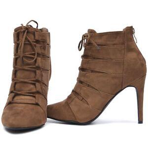Senora-botines-botines-tacon-alto-zapatos-de-salon-tacon-zapatos-negro-de-terciopelo-marron