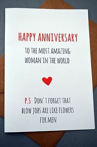 Image Is Loading Funny Anniversary Card Humour Banter Fun Cheeky Flowers