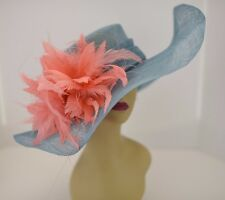 Kentucky Derby Church Wedding Feather Flower Sinamay Wide Hat 58 (Teal/Coral)
