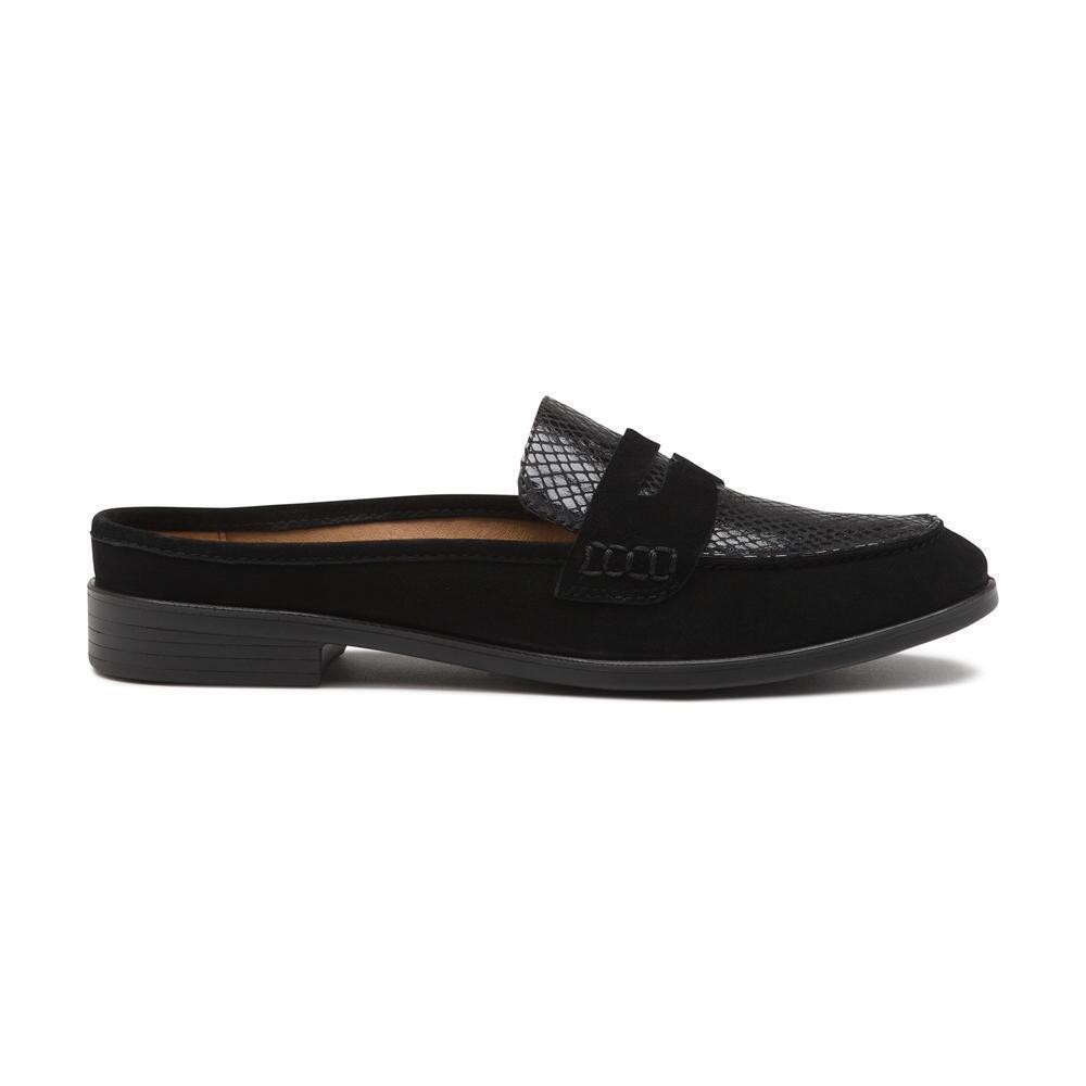 Bass Flex Step Women's Nicole Black Mule Loafer Loafer Loafer Slip-On shoes Size 7 or 8 Medium f07164
